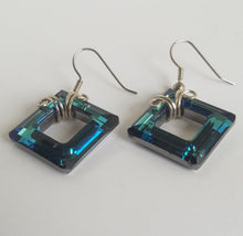 Swarovski Square Wire Wrapped Earrings