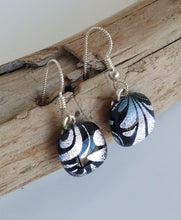 Plume on Silver Dichroic Glass Earrings