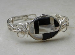 Black Onyx-Mother of Pearl Mosaic Bracelet