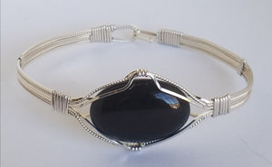 Black Onyx Bracelet wrapped in Argentium Sterling Silver