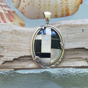 Black Onyx & Mother of Pearl Pendant