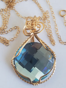Swarovski Antique Blue Crystal Pendant with Gold Filled Chain