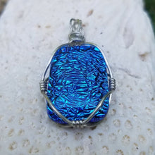 Dichroic Wire Wrapped Pendant/Necklace with braided Bail