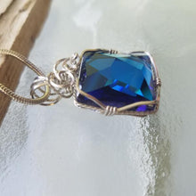 Asymmetrical Bermuda Blue Swarovski Pendant with Sterling Snake Chain