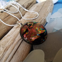 Round Dichroic Glass Multi Color Pendant with Silverplated snake chain