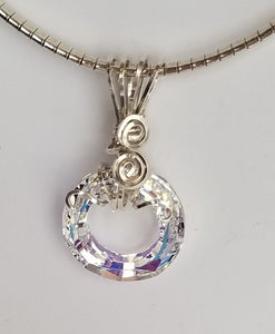 Clear Round Swarovski Round Pendant wrapped in Argentium Sterling or Gold-Filled Wire
