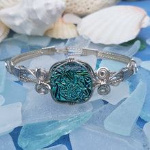 Green Dichroic Glass Bracelet wire wrapped in Argentium Silver