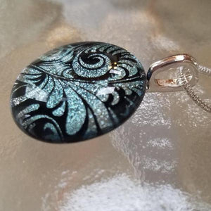 Silver on Black Plume Dichroic Pendant with Silverplated Chain (2 sizes available)