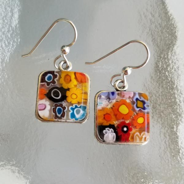 Murano Milliefiori Square Glass Earrings