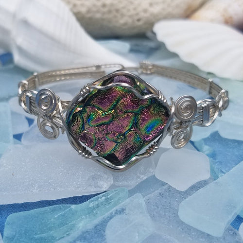 Pink and Green Dichroic Glass Wire Wrapped Bracelet