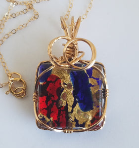 "Murano Glass Pendant with 18"" gold-filled chain"