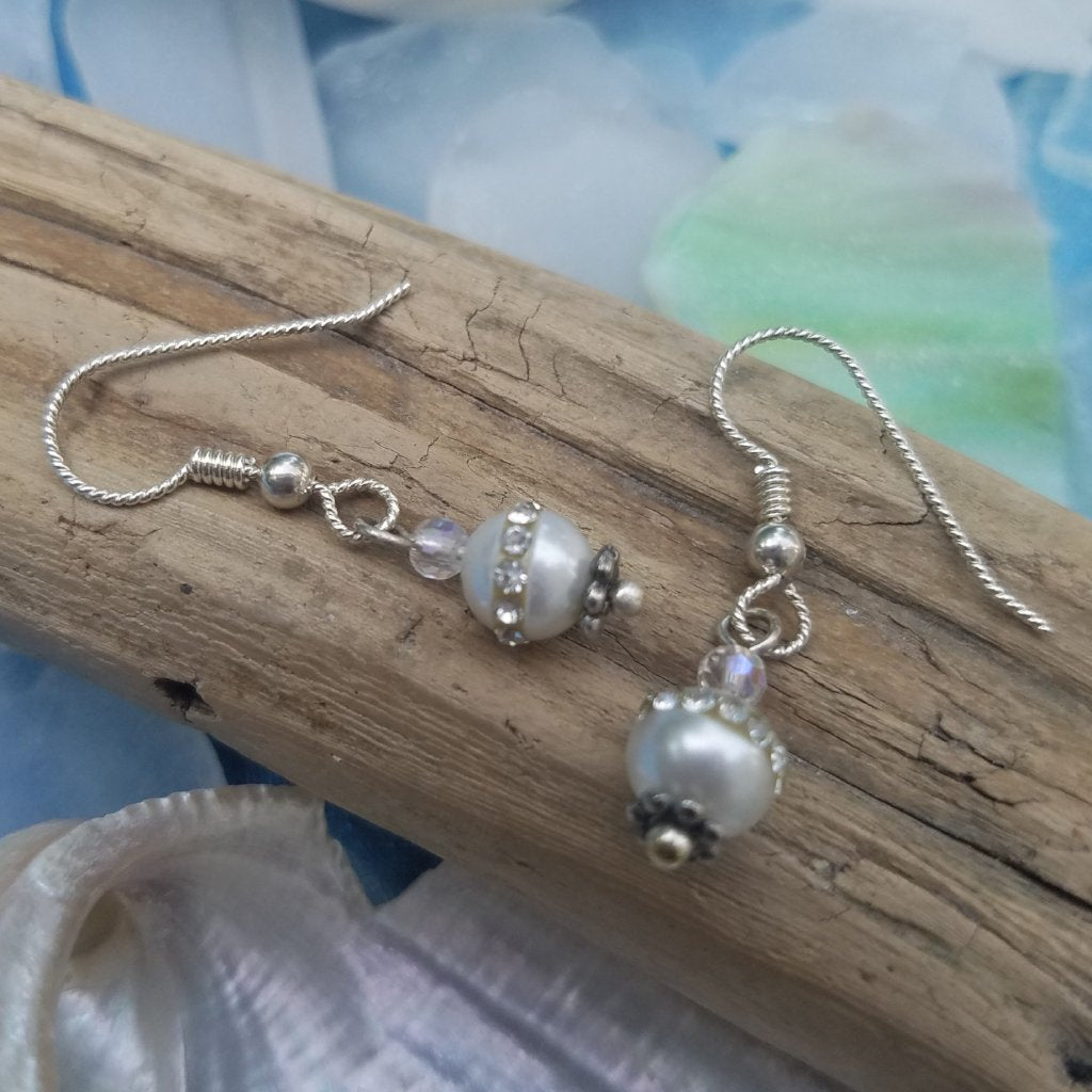 Freshwater Pearl Earrings with CZ