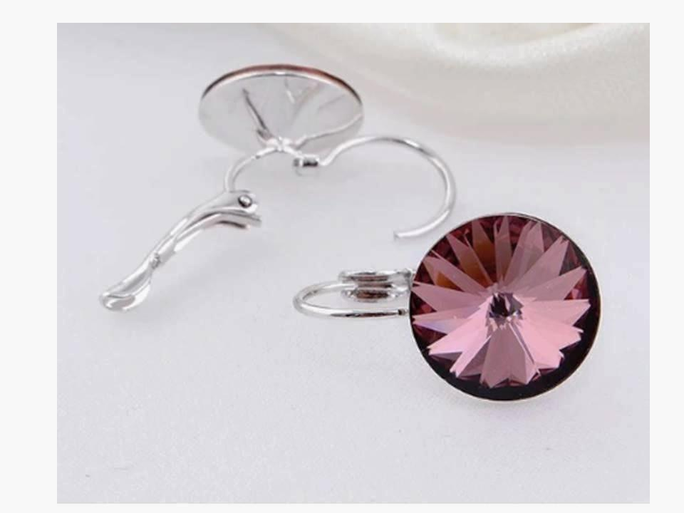 Round Crystal Silverplated Leverback Earrings