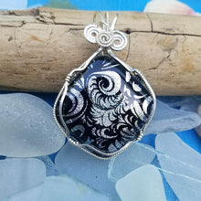 Argentium Silver Wire Wrapped Dichroic Silver Plume Pendant