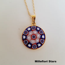 Murano Glass Milliefiori Round Pendant with Gold Filled Chain