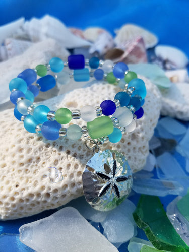 Memory Wire Sea Glass Bracelet
