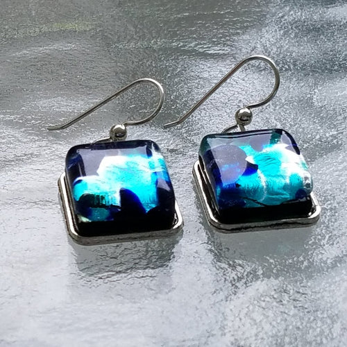 Sterling Silver Murano Sea Foam Earrings