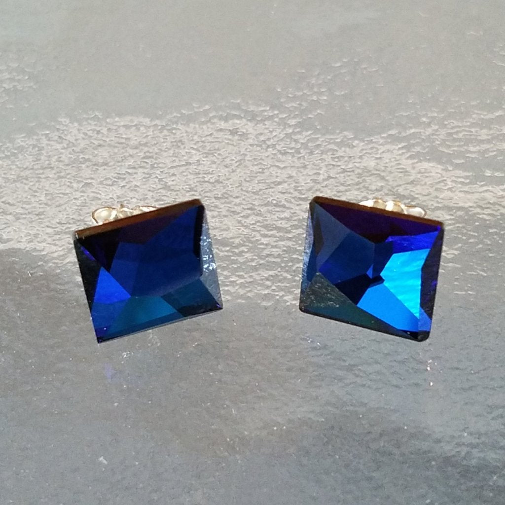 Bermuda Blue Swarovski Sterling Silver Post Earrings