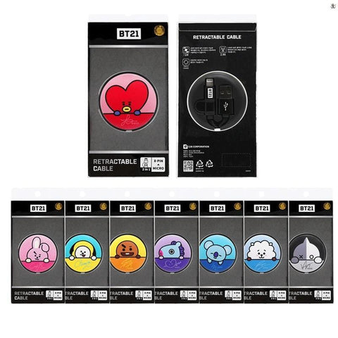 BT21 x LINE [ RETRACTABLE CABLE ] 8-PIN+ MICRO OFFICIAL GOODS