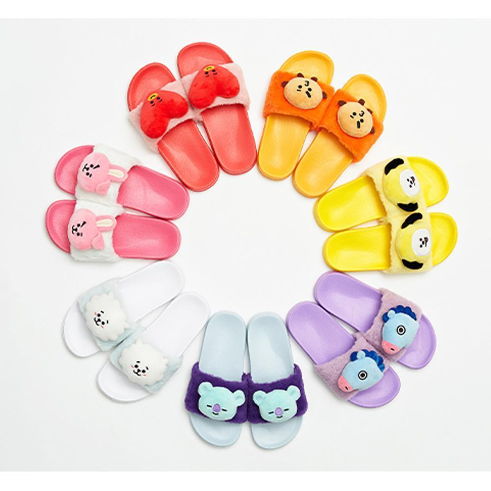 MUSIC PLAZA Goods TATA BT21 PLUSH DOLL SLIPPERS | SIZE : 8 /  LIMITED EDITION | OFFICIAL MD