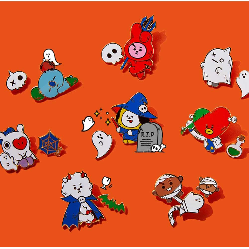 BT21 2019 HALLOWEEN COLLECTION [ METAL BADGE-  KNOCK, KNOCK WHO'S THERE] | 2PCS