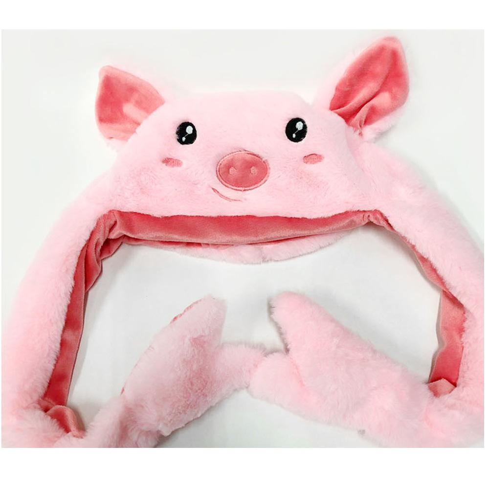 PIG PLUSH HAT |  Moving Ear Cap