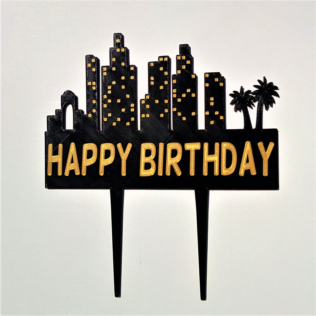 City Skyline Silhouette Cake Topper - SoCal Skyline