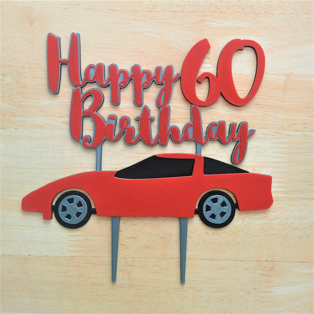 Sports Car Cake Topper: Happy Birthday Custom Number/Age