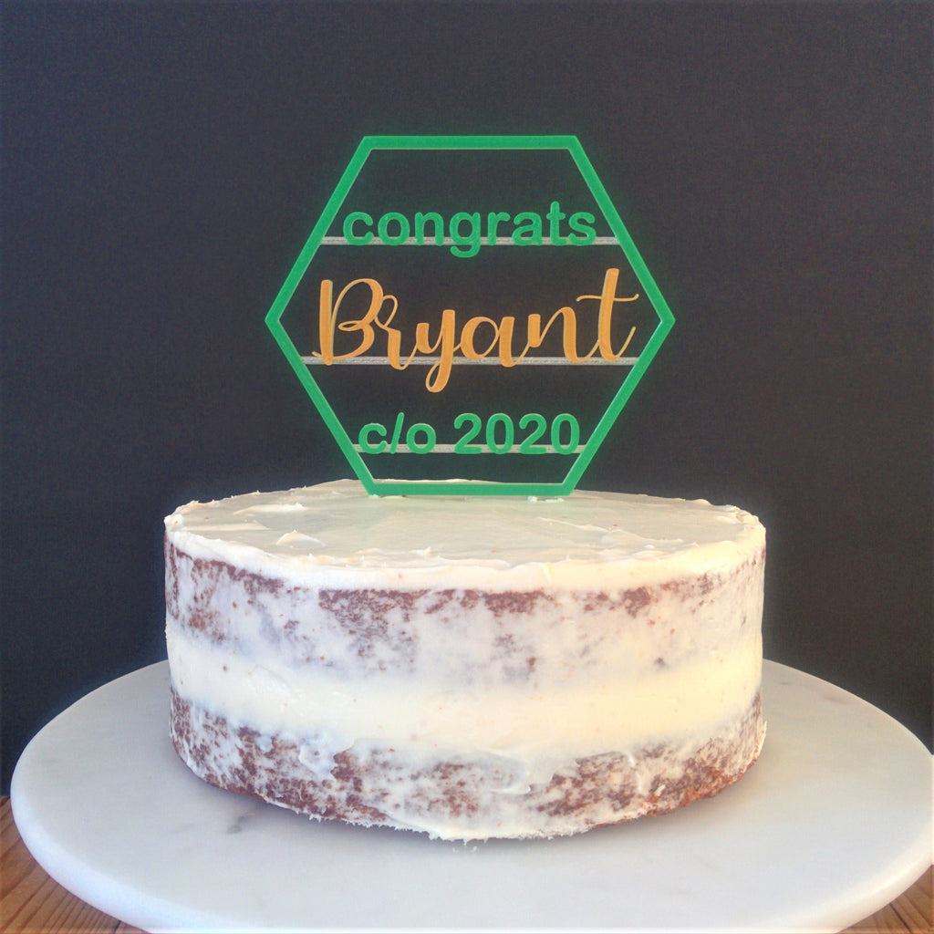Congrats Graduate Cake Topper - Hexagon Shape