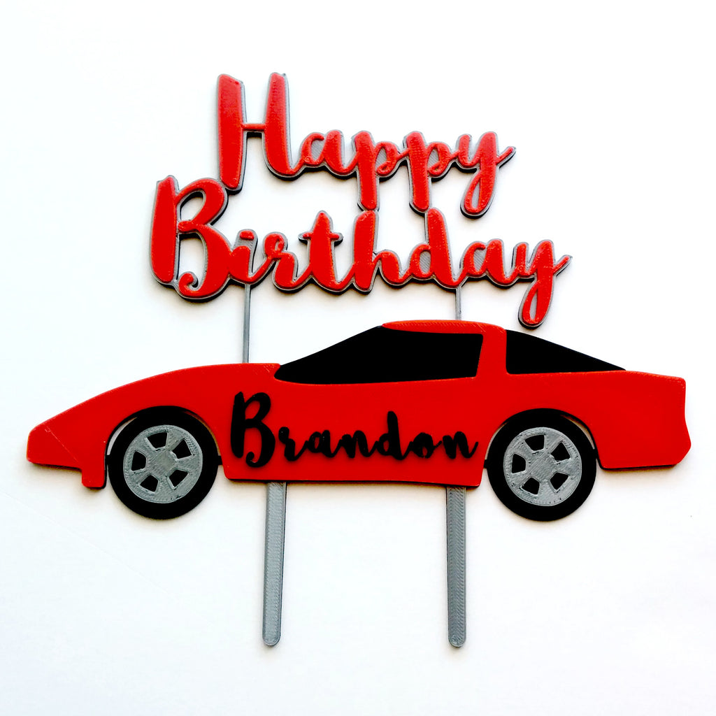 Sports Car Cake Topper: Happy Birthday