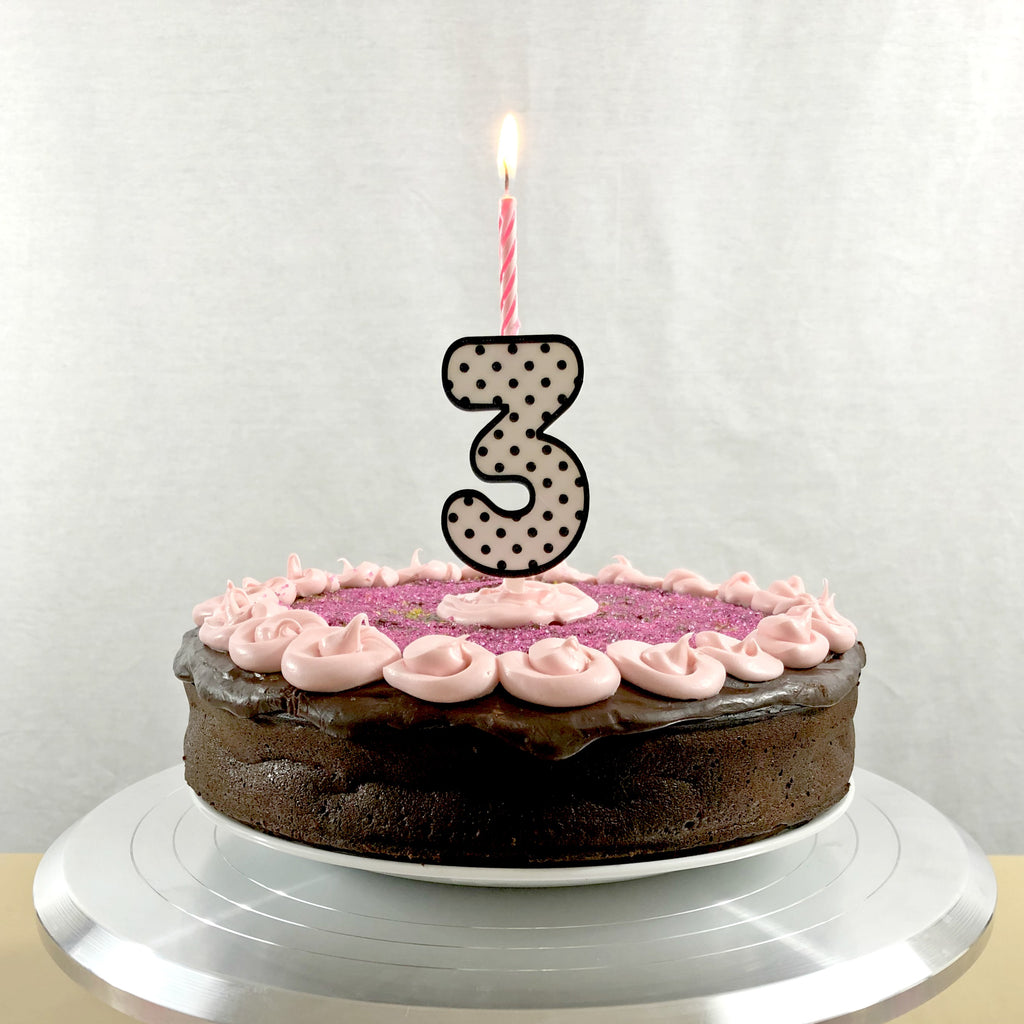 Polka-Dot Number Cake Topper & Candle Holder