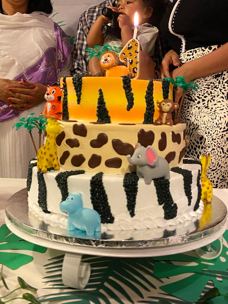 Leopard Pattern Number Cake Topper & Candle Holder