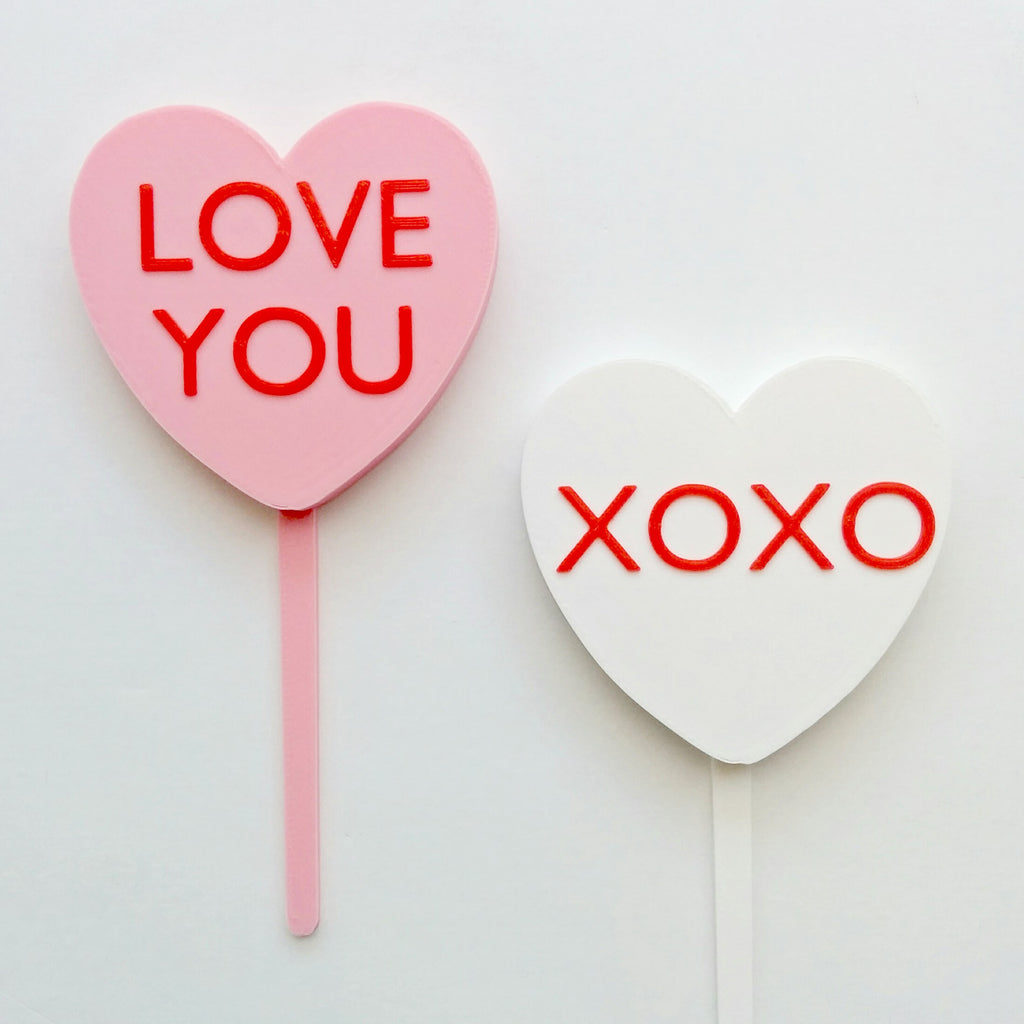 Conversation Heart Cake Topper & Candle Holder