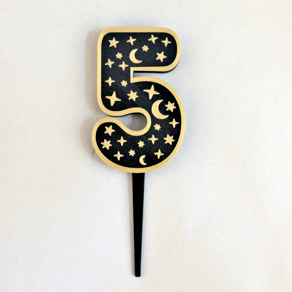 Moons and Stars Number Cake Topper & Candle Holder