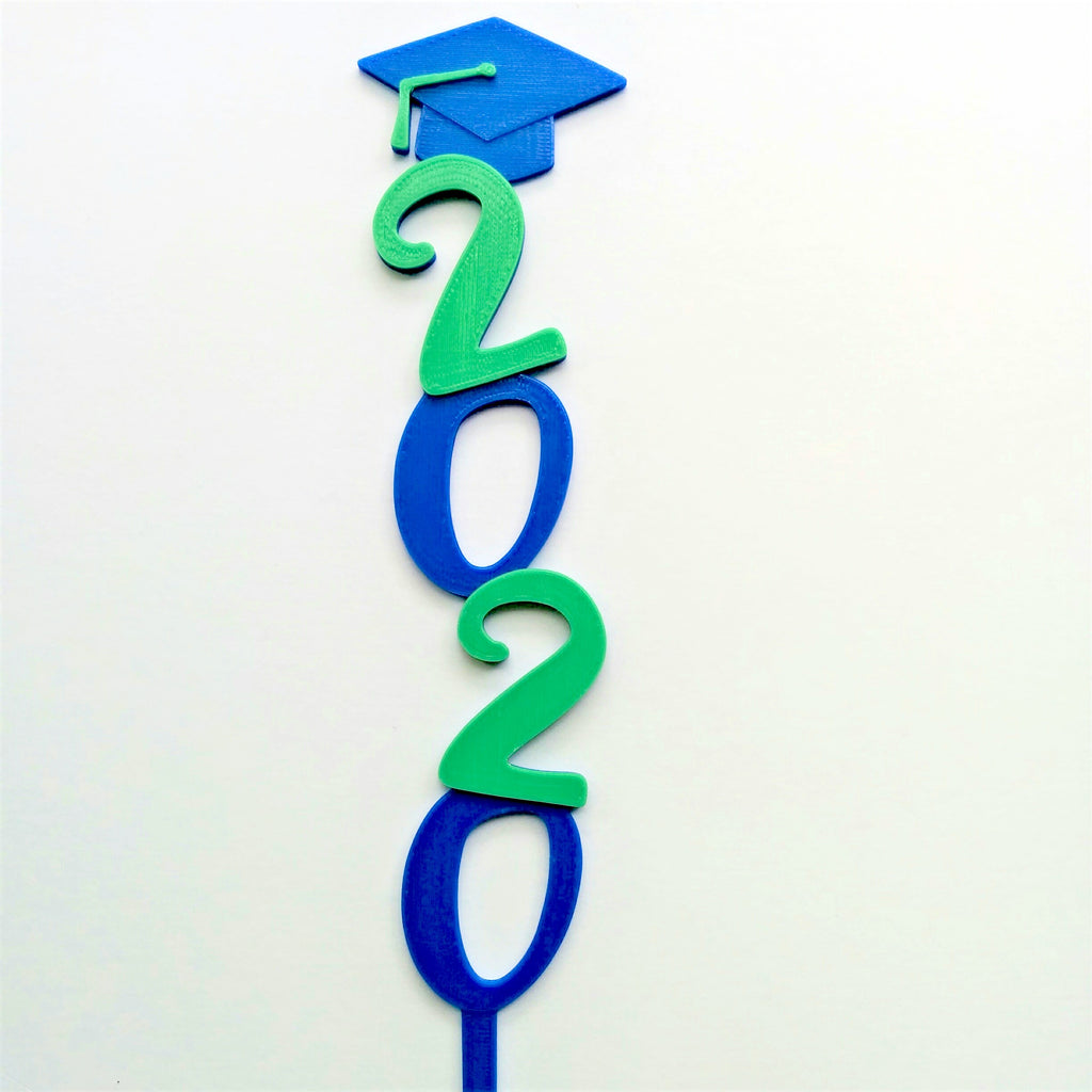 2020 Vertical Graduate Cake Topper with Grad Cap & Tassel