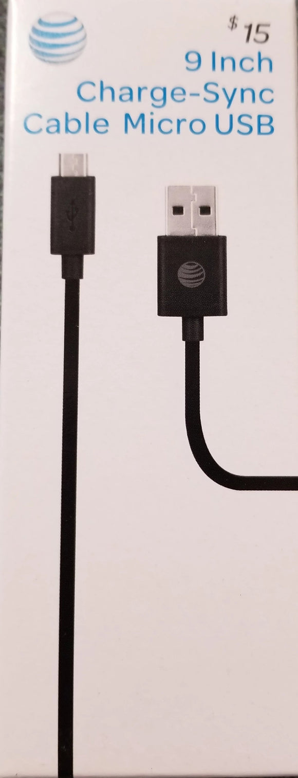 New At&t 9 Inch Charge-Sync Cable Micro USB Black - Equipment Blowouts Inc.