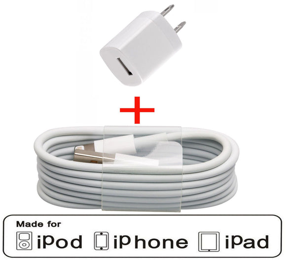 For Apple USB Wall Charger & Data Sync cable iPhone 5 5s 5c Touch 5 Nano 7 - Equipment Blowouts Inc.
