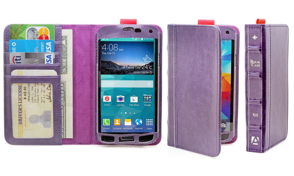 Aduro BookCase Folio & Wallet Case for Samsung Galaxy S5 -Purple - Equipment Blowouts Inc.