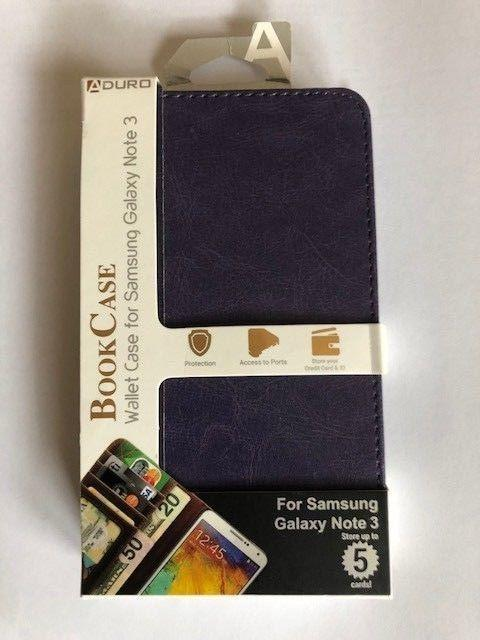 Aduro Book Case Wallet Samsung Galaxy Note 3 - Purple - Equipment Blowouts Inc.