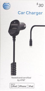 At&t Car Charger for iPhone 5/5s/5c, iPhone 6/6 Plus- Black - Equipment Blowouts Inc.