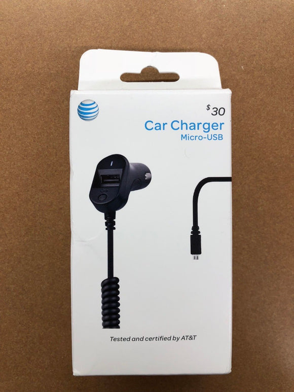 New OEM AT&T 3.4 Amp Micro-USB Black Car Charger - Equipment Blowouts Inc.