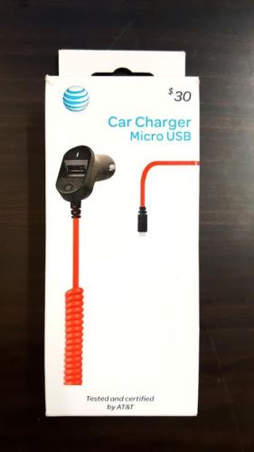 AT&T 3.4 Amp Micro USB Car Charger - Red - Equipment Blowouts Inc.
