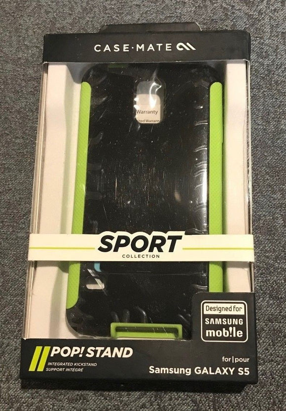 Case-Mate Sport Collection POP! Stand Case for Samsung Galaxy S5 - Black/Green - Equipment Blowouts Inc. Established 2005.