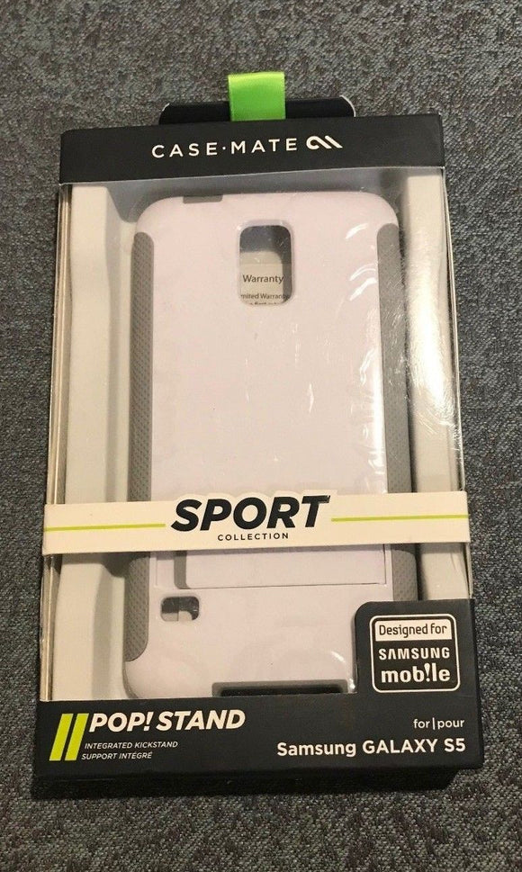 Case-Mate Sport Collection POP! Stand Case for Samsung Galaxy S5 - White/Gray - Equipment Blowouts Inc.