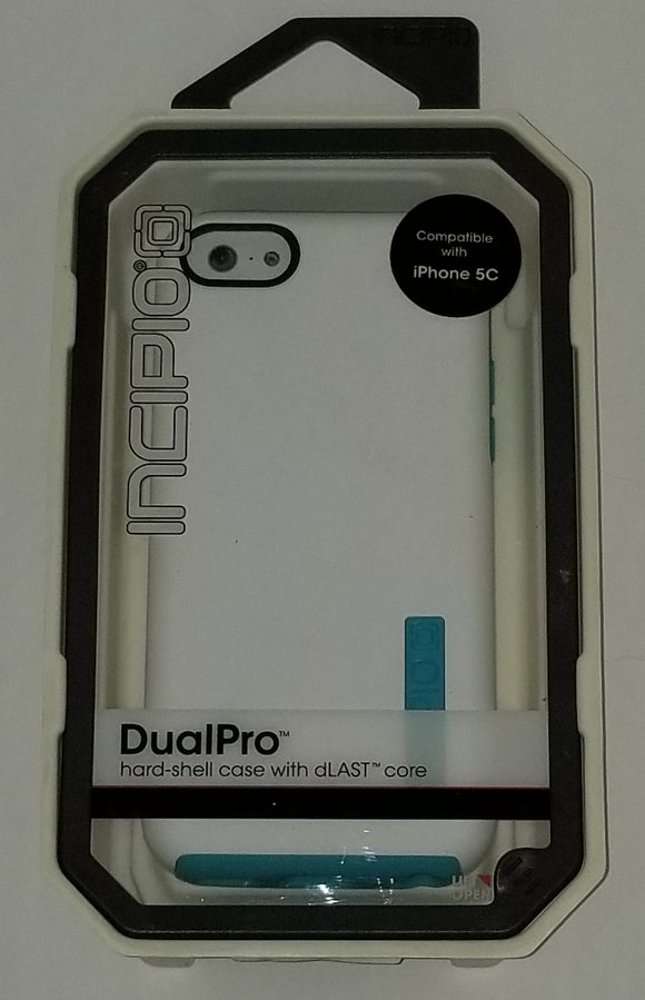 Iphone 5c Dual Pro Hardshell case with dlast core White and teal (BY INCIPIO) - Equipment Blowouts Inc.
