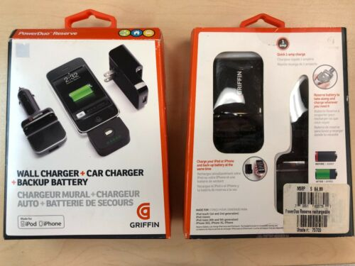 Griffin PowerDuo Reserve Car/Wall Charger/Backup Battery iPhone 4S 4 3G 3GS iPod - Equipment Blowouts Inc.