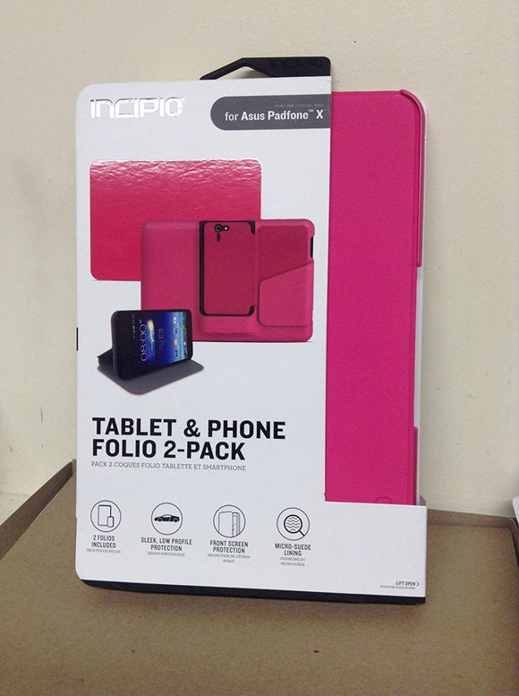 INCIPIO Tablet and Phone Folio 2-pack for the ASUS Padfone X - Pink - Equipment Blowouts Inc. Established 2005.