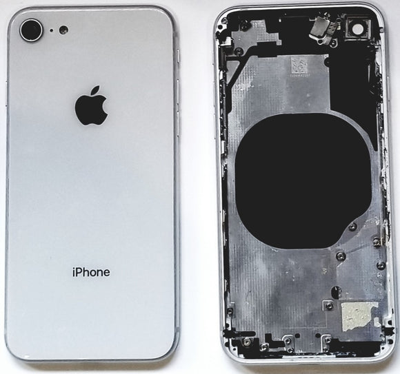 Apple iPhone 8 full back housing frame rear chasis glass ( White / Silver ) - Equipment Blowouts Inc. Established 2005.