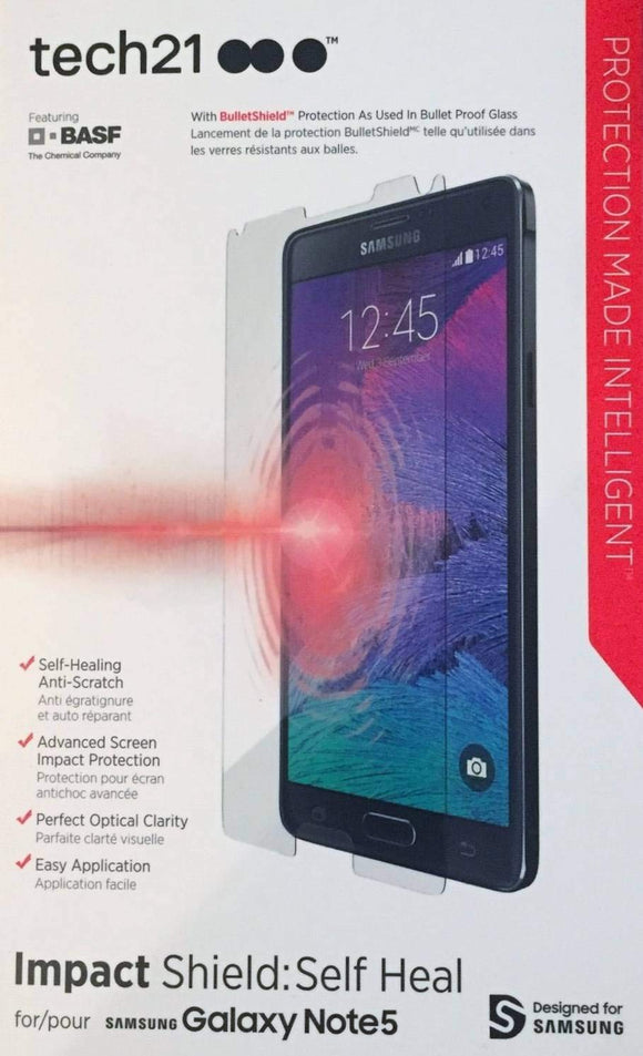 tech21 Impact Shield Screen Protector with Self Heal for Samsung Galaxy Note 5 - Equipment Blowouts Inc.
