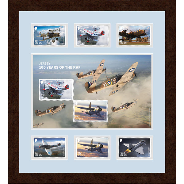 100 Years of RAF- Framed Jersey Full Set of 6 diff RAF Stamps & Special Mini Sheetlet